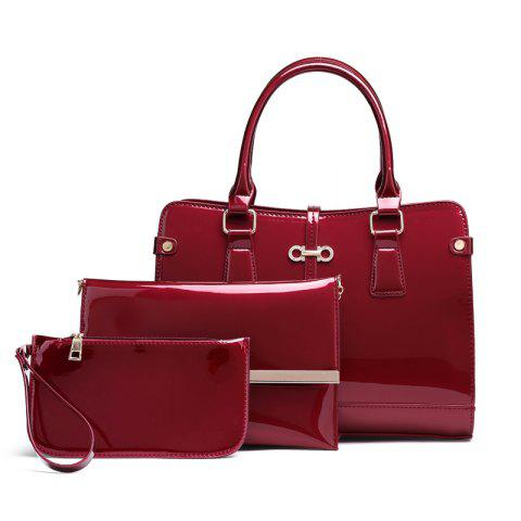 Unique Three Pieces of New Mother Bag Patent Leather Bright Handbag Lady Diagonal Package