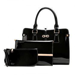 Three Pieces of New Mother Bag Patent Leather Bright Handbag Lady Diagonal Package -