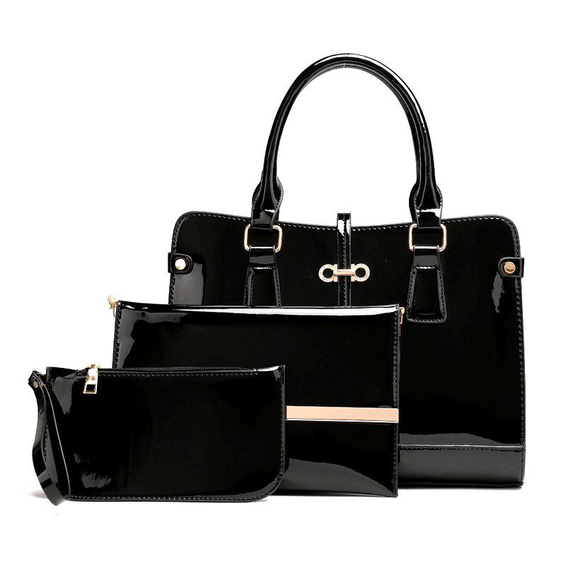 Buy Three Pieces of New Mother Bag Patent Leather Bright Handbag Lady Diagonal Package