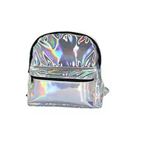 Outfit Girl's Silver Hologram Laser Leather School Backpack Travel Casual Daypack