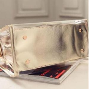 Womens Clear Transparent Shoulder Bag Jelly Candy Summer Beach Handbag Golden -