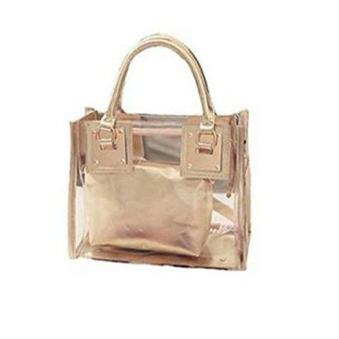 Outfits Womens Clear Transparent Shoulder Bag Jelly Candy Summer Beach Handbag Golden