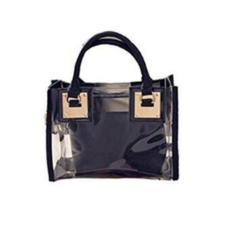 Discount Womens Clear Transparent Shoulder Bag Jelly Candy Summer Beach Handbag Black
