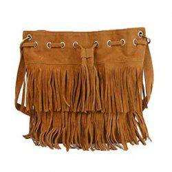 Celebrity Women Vintage Faux Suede Drawstring Fringe Tassel Shoulder Bag Girls Bucket Bag Brown -