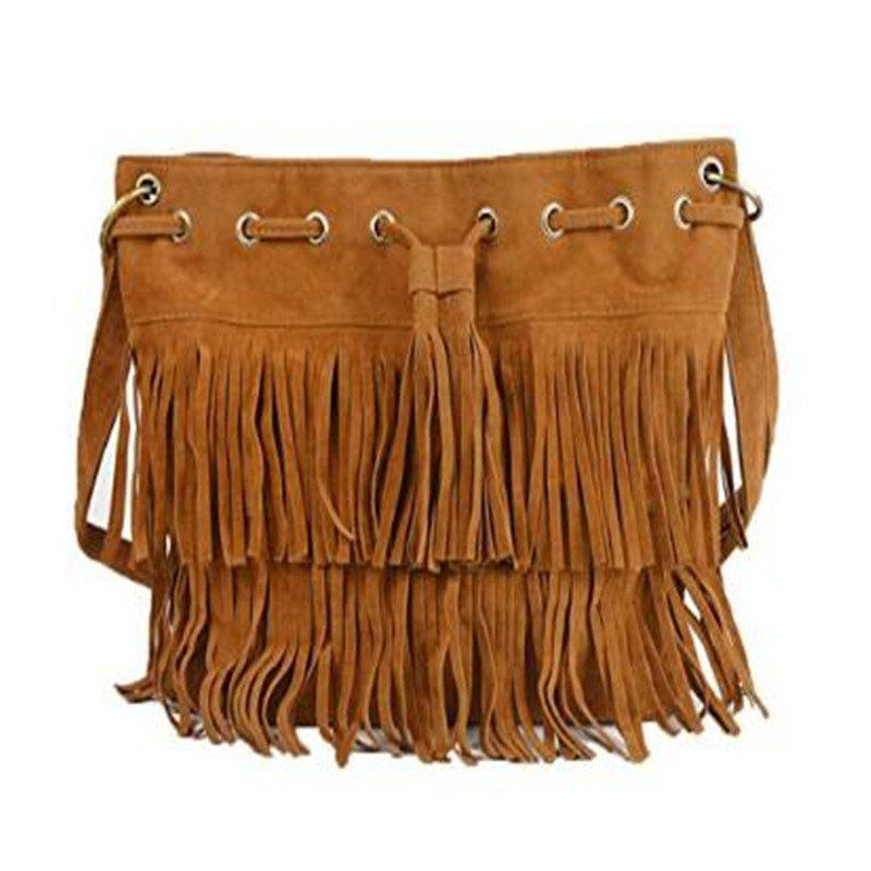 Store Celebrity Women Vintage Faux Suede Drawstring Fringe Tassel Shoulder Bag Girls Bucket Bag Brown