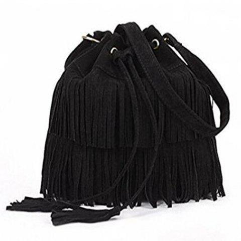 Shop Celebrity Women Vintage Faux Suede Drawstring Fringe Tassel Shoulder Bag Girls Bucket Bag Black