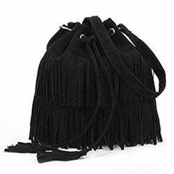 Celebrity Women Vintage Faux Suede Drawstring Fringe Tassel Shoulder Bag Girls Bucket Bag Black -