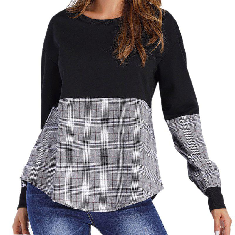 Sale Grid Stitching Round Collar Fleece Long Sleeve Ends  Long Sleeve T-shirt
