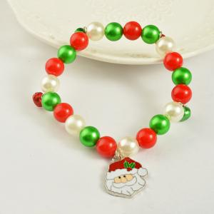 Christmas gift bracelet jewelry Santa Claus Elk Pendant Alloy Beads Bangles Jewelry for women Girls -