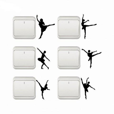 Chic Set Of 6 Ballet Switch Stickers Dancer Silhouette Vinyl Wall Sticker Home Decor
