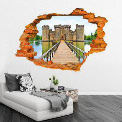 3D Ancient Castle Building PVC Wall Stickers Wooden Bridge Full Color Decals Home Decor -