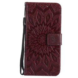 Pure Color Sunflower Pattern Leather for Huawei Honor 7X -