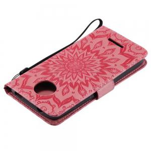 Pure Color Sunflower Pattern Leather for Moto C European Edition -