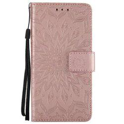 Pure Color Sunflower Pattern Leather for Moto C Plus European Edition -