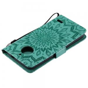 Pure Color Sunflower Pattern Leather for Moto E4 European Edition -