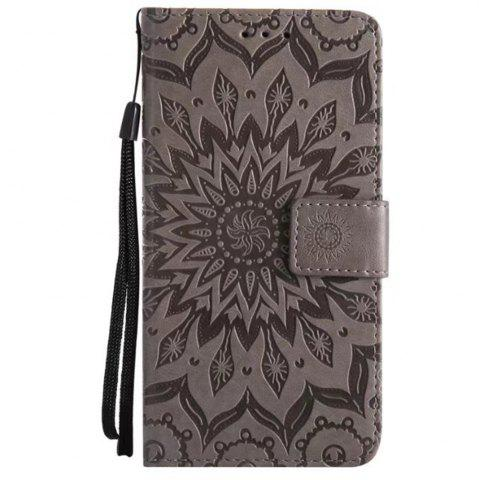 Shop Pure Color Sunflower Pattern Leather for Moto E4 European Edition