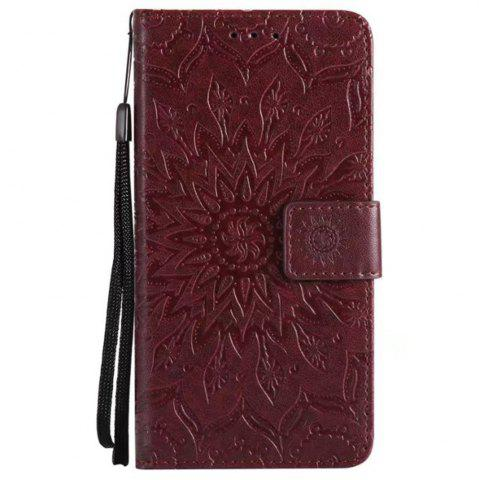 Sale Pure Color Sunflower Pattern Leather for Moto E4 European Edition
