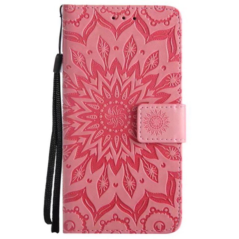 Outfits Pure Color Sunflower Pattern Leather for Moto E4 European Edition