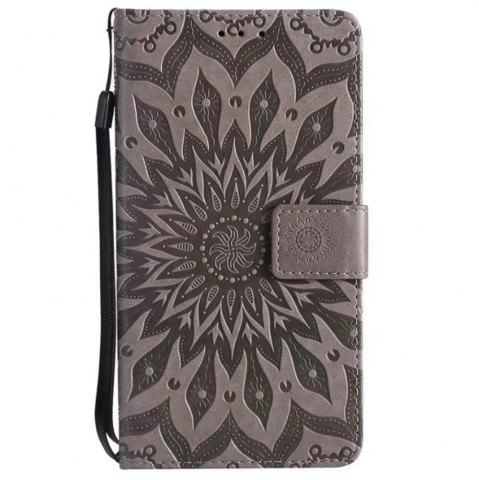 Trendy Pure Color Sunflower Pattern Leather for Moto E4 Plus European Edition