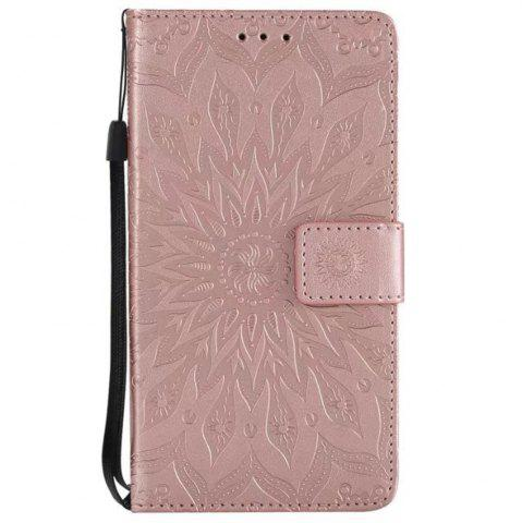 Sale Pure Color Sunflower Pattern Leather for Moto E4 Plus European Edition