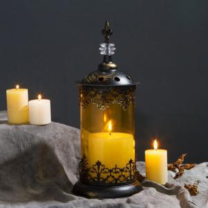 Christmas Wrought Iron Glass Candlestick -