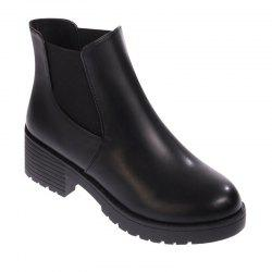 XY189 Contracted Women'S Autumn Winter Leisure Round Head Low Heel Chelsea Boots -