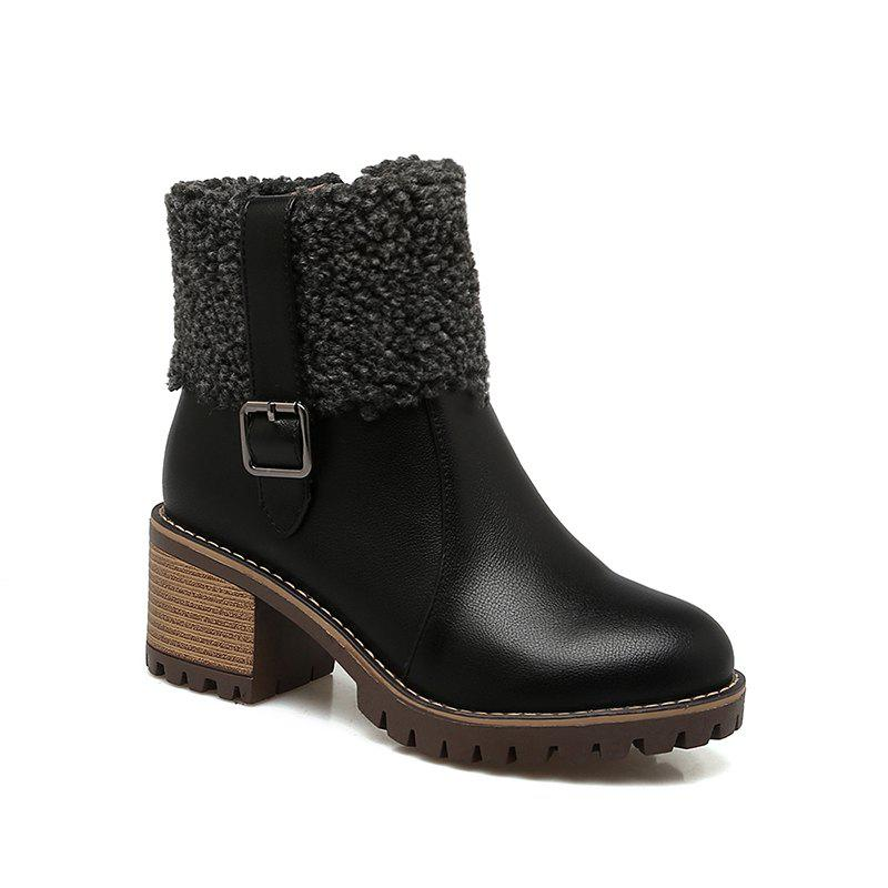 Outfits New Winter  Flanged Buttoned Up And Short Female Boot