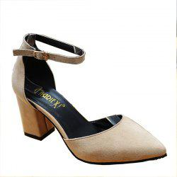 Spring and Summer New Rough Heel Suede Shoes -