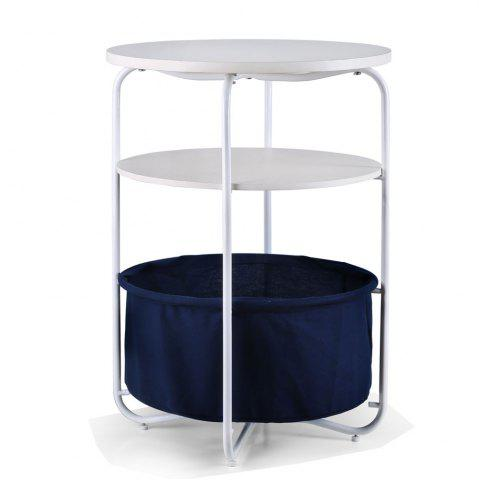 Cheap Round Wooden Side Table   3 Tiers With a Book Storage Canvas Basket Bag