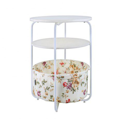 Shops Round Wooden Side Table   3 Tiers With a Book Storage Canvas Basket Bag