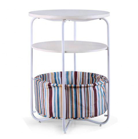 Outfits Round Wooden Side Table   3 Tiers With a Book Storage Canvas Basket Bag