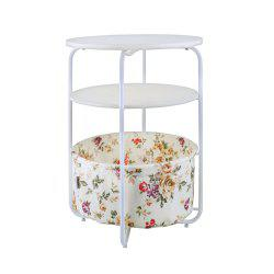 Round Wooden Side Table   3 Tiers With a Book Storage Canvas Basket Bag -