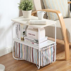 Rectangular Wooden Side Table   3 Tiers With a Book Storage Canvas Basket Bag -
