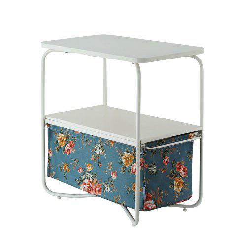 Trendy Rectangular Wooden Side Table   3 Tiers With a Book Storage Canvas Basket Bag