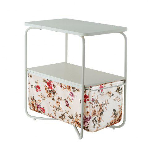 Unique Rectangular Wooden Side Table   3 Tiers With a Book Storage Canvas Basket Bag