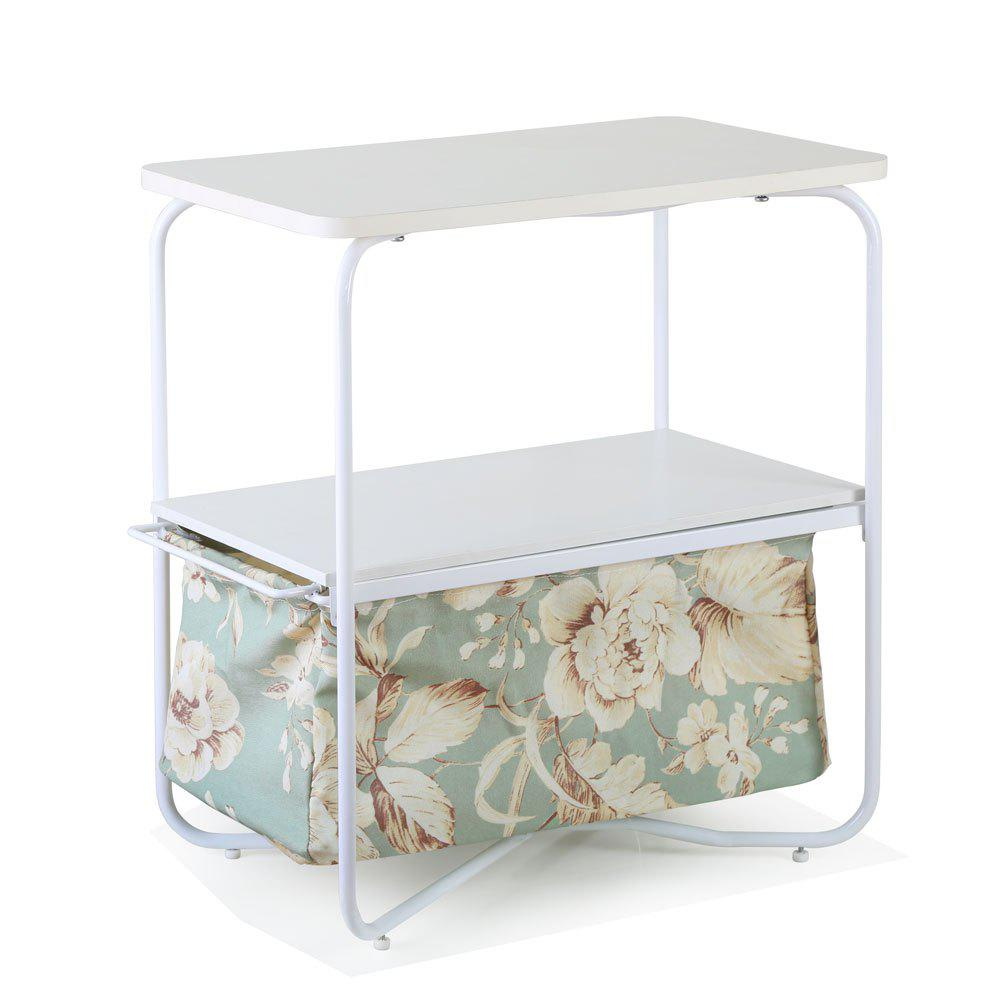 Shop Rectangular Wooden Side Table   3 Tiers With a Book Storage Canvas Basket Bag