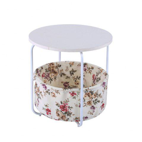 Unique Round Wooden Side Table   2 Tiers With a Book Storage Canvas Basket Bag