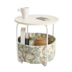 Round Wooden Side Table   2 Tiers With a Book Storage Canvas Basket Bag -