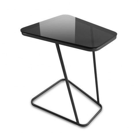 Affordable C-Shape End Table Small Side Table Computer Tray Table for Living room / Bedroom, Toughened Glass Top