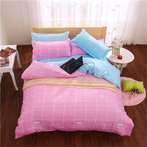 Outfit Aloe Vera Cotton Crown Two Colors Grid Three-Piece Bedding Sets
