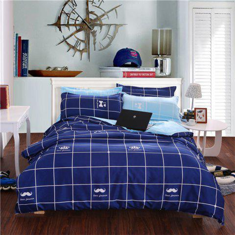 Latest Aloe Vera Cotton Crown Two Colors Grid Three-Piece Bedding Sets