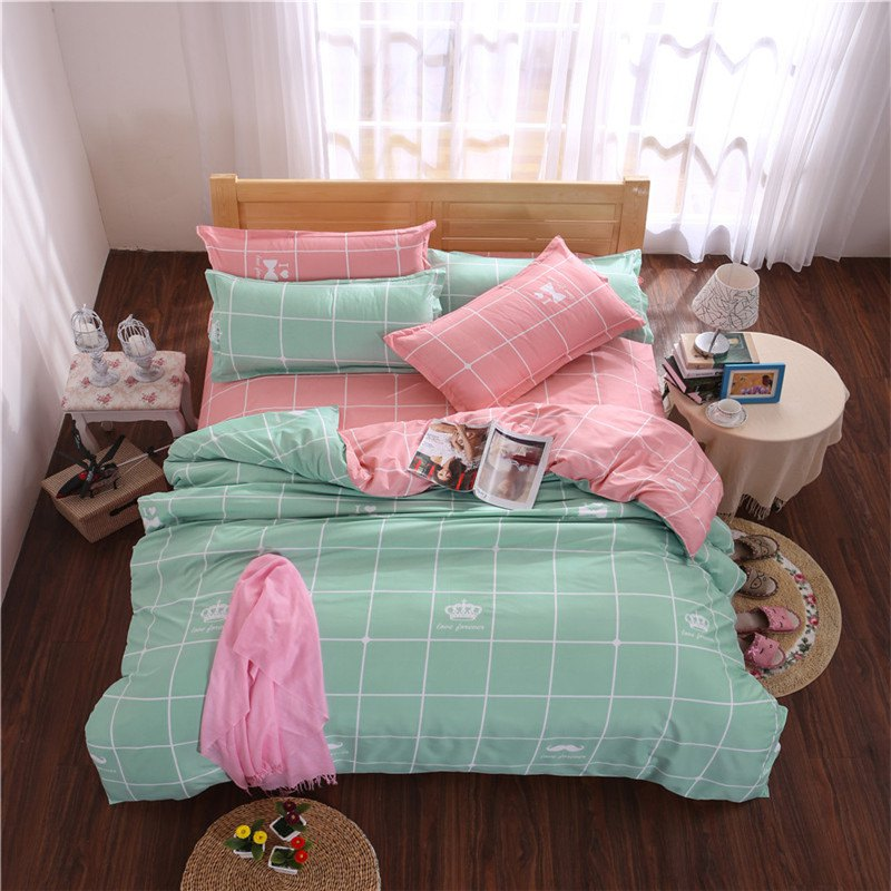 Fashion Aloe Vera Cotton Crown Two Colors Grid Three-Piece Bedding Sets