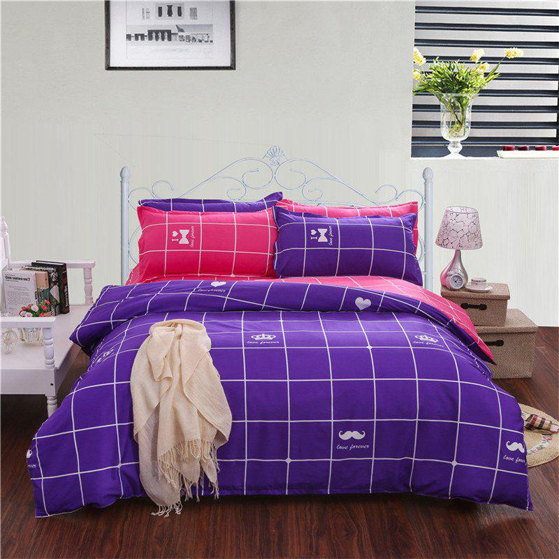 Best Aloe Vera Cotton Crown Two Colors Grid Three-Piece Bedding Sets