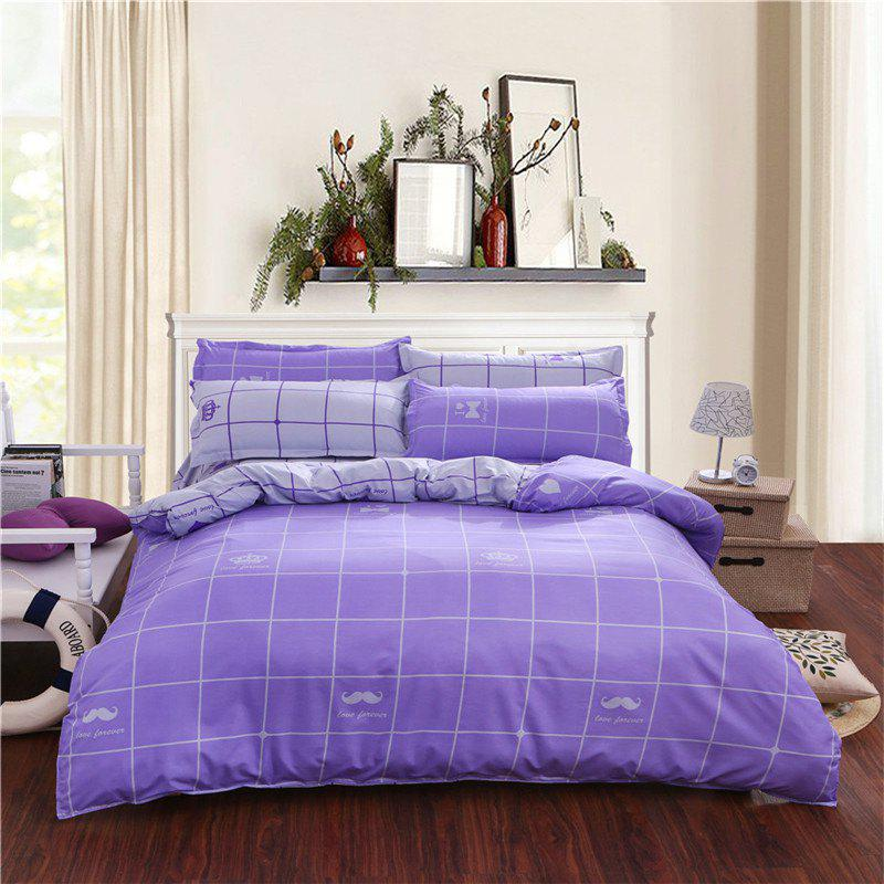 Trendy Aloe Vera Cotton Crown Two Colors Grid Three-Piece Bedding Sets