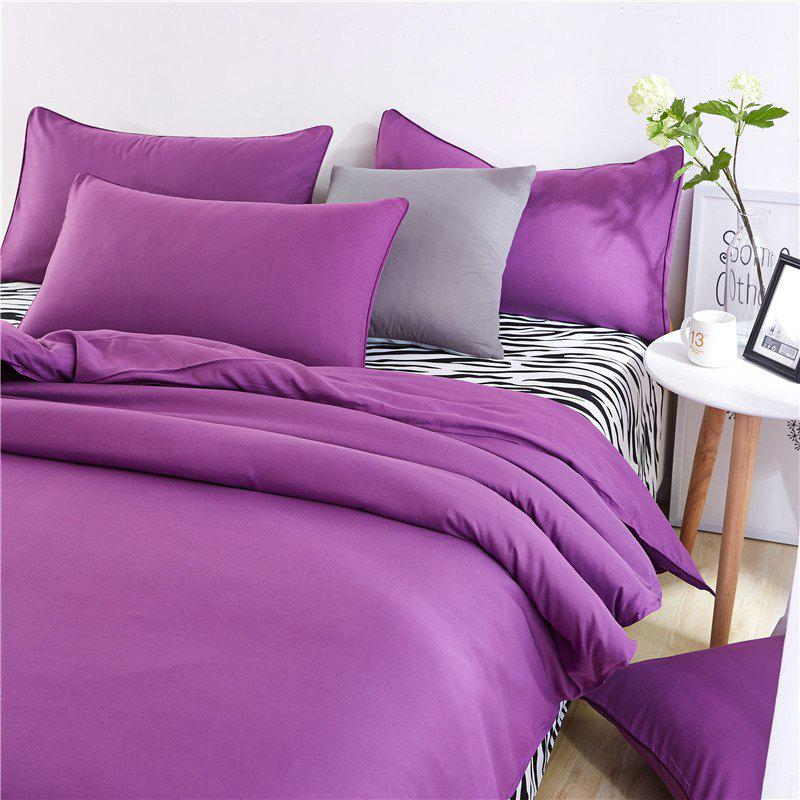 Online Aloe Vera Cotton Zebra Sheet and Pure Color Quilt for Children'S Three-Piece Bedding Sets
