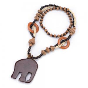 Women Fashion Jewelry Hand Carved Elephant Wood Bead Pendant Long Necklace Choker -