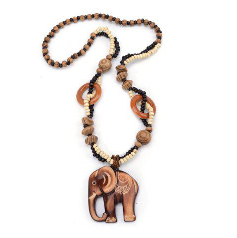 New Women Fashion Jewelry Hand Carved Elephant Wood Bead Pendant Long Necklace Choker