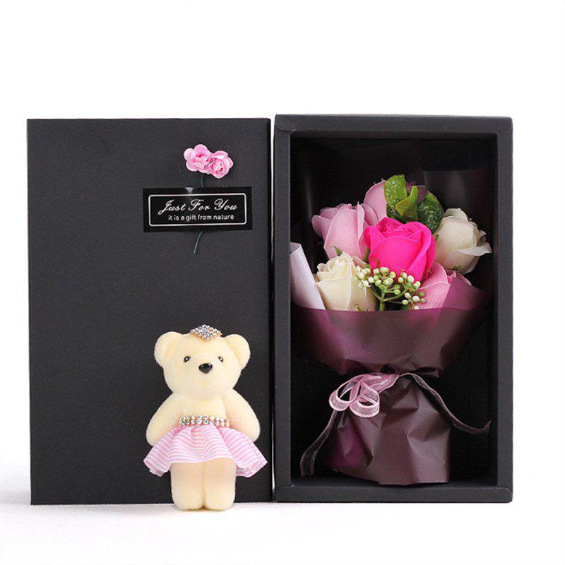 6Pcs Box Romantic Rose Soap Flower With Little Cute Bear Doll Great for Valentine s Day Wedding birthday Gifts 244712703