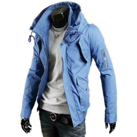 Chic Hooded Camouflage Zipper Men'S Jacket