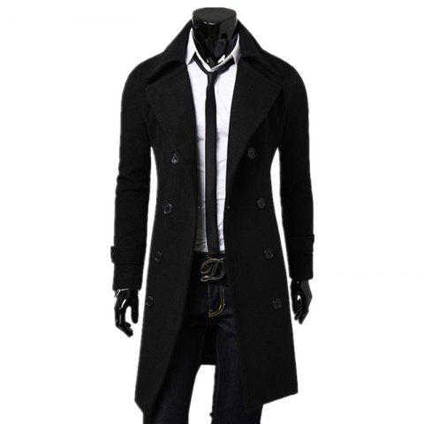 Unique Business Casual Trench Coat Washed Cotton Turndown Collar Jacket for Men